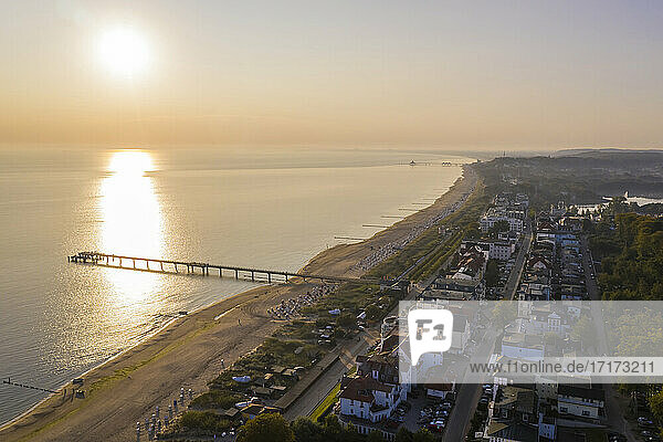 Germany  Mecklenburg West Pomerania  Baltic Sea coast  Usedom Island  Bansin  Aerial view of tourist resort on coast