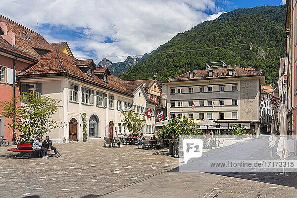 Kornplatz square with sidewalk restaurants and cafes in old town of Chur  Switzerland