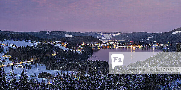 Germany  Baden-Wurttemberg  Panorama of Titisee lake and surrounding town at dusk