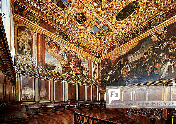 Das Kollegium oder Sala del Collegio im Dogenpalast  Venedig  Venetien  Italien |Sala del Collegio or College Hall of Doge's Palace  Palazzo Ducale  Venice  Veneto  Italy|