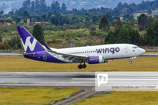 Ein Boeing 737-700 Flugzeug der Wingo mit dem Kennzeichen HP-1525CMP landet auf dem Flughafen Medellin Rionegro (MDE)  Medellin  Kolumbien  Südamerika