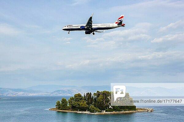 Ein Airbus A321neo Flugzeug der British Airways mit dem Kennzeichen G-NEOW auf dem Flughafen Korfu (CFU)  Korfu  Griechenland  Europa
