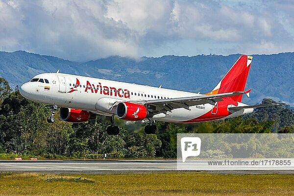 Ein Airbus A320 Flugzeug der Avianca mit dem Kennzeichen N664AV auf dem Flughafen Medellin Rionegro (MDE)  Medellin  Kolumbien  Südamerika