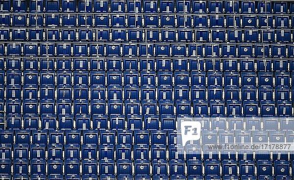 Geisterspiel  Leere Sitzreihen auf der Stadiontribüne  abgeklebt wegen Corona-Krise  PreZero Arena  Sinsheim-Hoffenheim  Baden-Württemberg  Deutschland  Europa