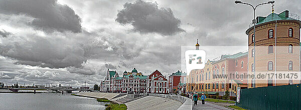 "Russia; .Yoshkar-Ola capital of the Republic of Mari El Olast  is best known for its ""historical center  built in the 2000s in an incredibly eclectic spirit that looks unexpected in the Russian républic.Crossed by the Kokshaga river. The City of Yoshkar-Ola  the main feature of the city center is an abundance of copies of famous architectural monuments. the buildings were all built in the Flemish style  although there is no real connection between Yoshkar-Ola and Flanders!"