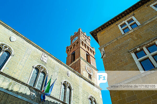 Pienza  Italy  the medieval palaces of Pio II square vith the civic tower in the background