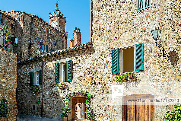 Pienza  Italy  the traditional houses of the old town