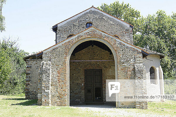 Europe  Italy  Lombardy  Varese province. The archaeological area of Castelseprio with the ruins of a village destroyed in the 13th century. Unesco - World Heritage Site. Church of Santa Maria Foris Portas