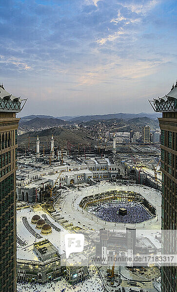 The Hajj annual Islamic pilgrimage to Mecca  Saudi Arabia  the holy city. Aerial view.
