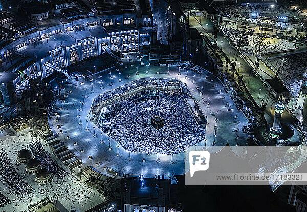 The Hajj annual Islamic pilgrimage to Mecca  Saudi Arabia  Aerial view.