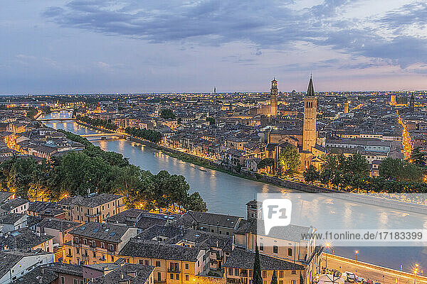 Aerial view of the Verona cityscape at sunset  Italy.
