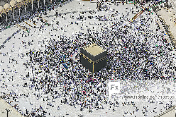 The Hajj annual Islamic pilgrimage to Mecca,  Saudi Arabia. Aerial view.
