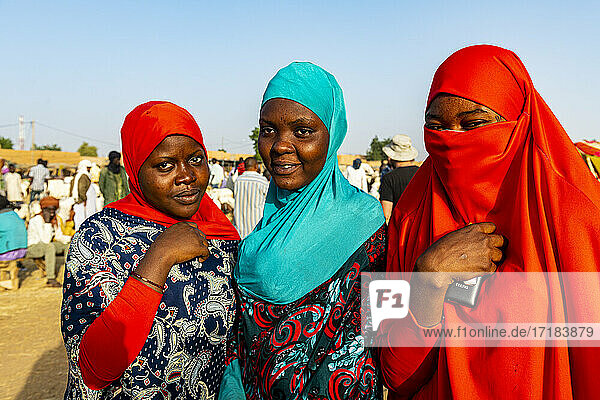Colourful dressed women at the animal market  Agadez  Niger  Africa