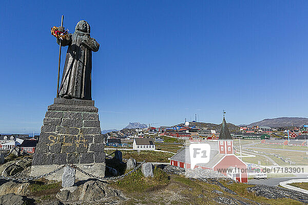 The statue of Hans Egede in Nuuk (Godthab)  the Capital and largest city in Greenland  Polar Regions