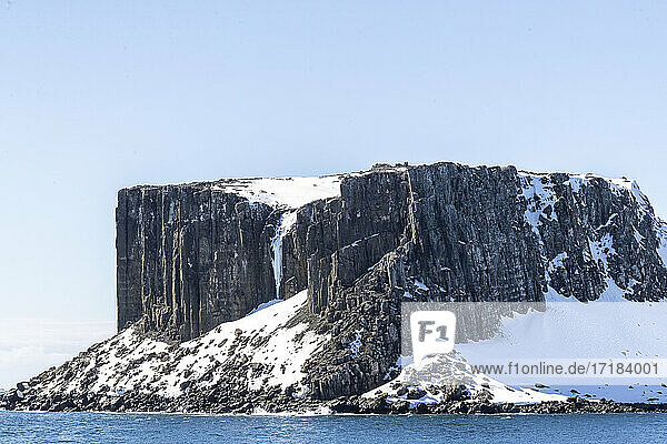 Basalt cliffs in English Strait in the South Shetland Islands  Antarctica  Polar Regions