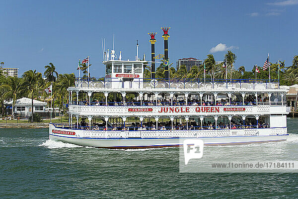 Historic riverboat  the Jungle Queen  cruising along the Intracoastal Waterway  Fort Lauderdale  Florida  United States of America  North America