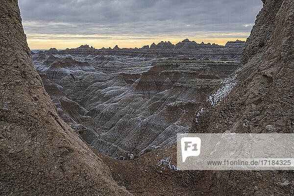 Badlands through the window  Badlands National Park  South Dakota  United States of America  North America