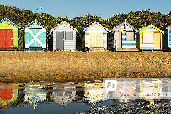 Bathing boxes (beach huts)  Brighton  Port Phillip Bay  Victoria  Australia  Pacific