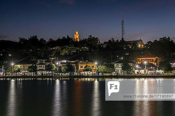 Buddha statue above Nong Tung Lake at night  Kengtung  Myanmar
