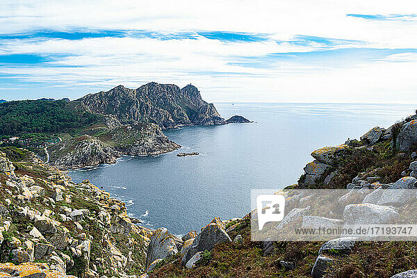 Panoramic view of the cies islands  Galicia - Spain