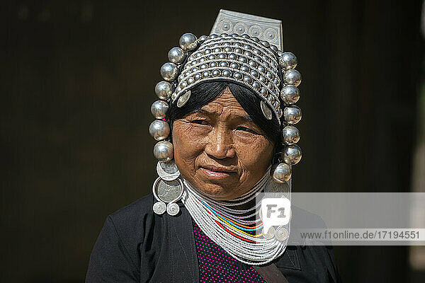 Portrait of adult woman of Akha tribe near Kengtung  Myanmar