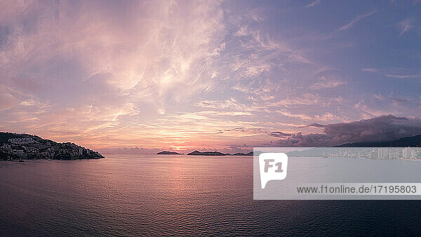 Beautiful sunset  aerial view of the beach  acapulco seen from above.