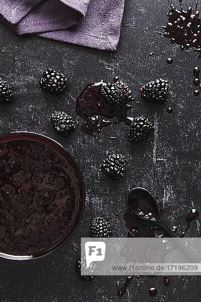 Food Flatlay of Rustic homemade Blackberry Jam