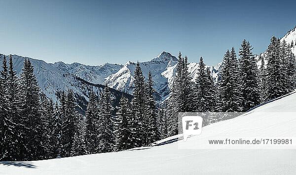 Namloser Wetterspitze mountain seen through Steinkarspitze during winter  Lechtal Alps  Tyrol  Austria