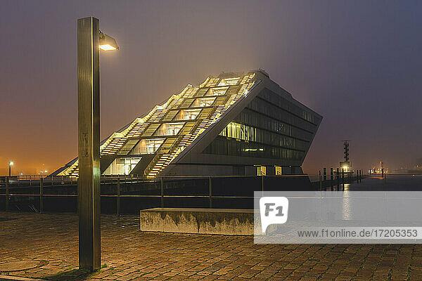Germany  Hamburg  Altona  Dockland office building in fog