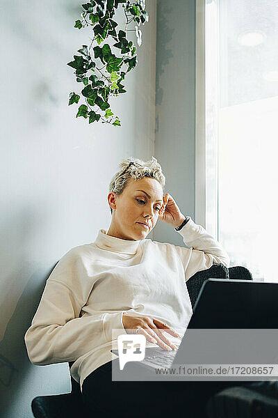 Female entrepreneur using laptop in office