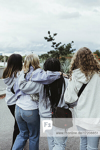 Rear view of friends with arms around walking on footpath