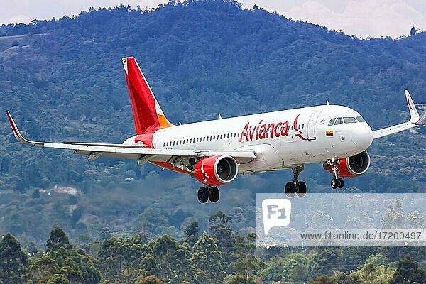 Ein Airbus A320 Flugzeug der Avianca mit dem Kennzeichen N728AV landet auf dem Flughafen Medellin Rionegro  Kolumbien  Südamerika