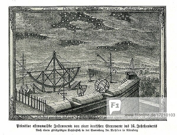 Primitive astronomische Instrumente von einer deutschen Sternwarte des 16  Jahrhunderts  Nach einem zeitgenössischen Kupferstich in der Sammlung des Dr  Rehlen in Nürnberg