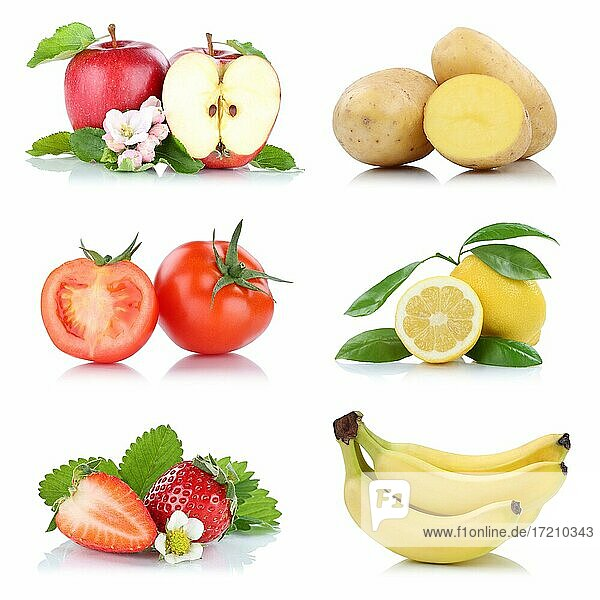 Obst und Gemüse Früchte viele Apfel Tomaten Zitrone Erdbeeren Farben Freisteller freigestellt isoliert vor einem weißen Hintergrund