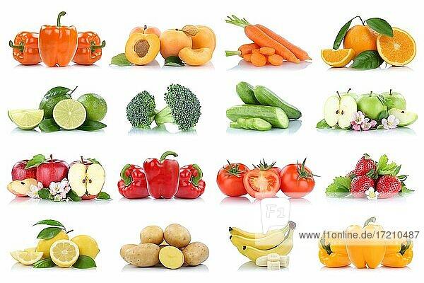 Früchte Obst und Gemüse Sammlung Apfel Tomaten Orange Bananen Erdbeeren Farben frische Freisteller freigestellt isoliert vor einem weißen Hintergrund