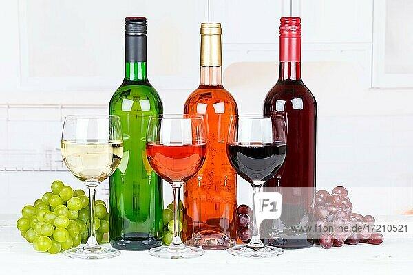 Wein Sammlung Weine Weißwein Weißwein Rotwein Rose Weintrauben Trauben Alkohol