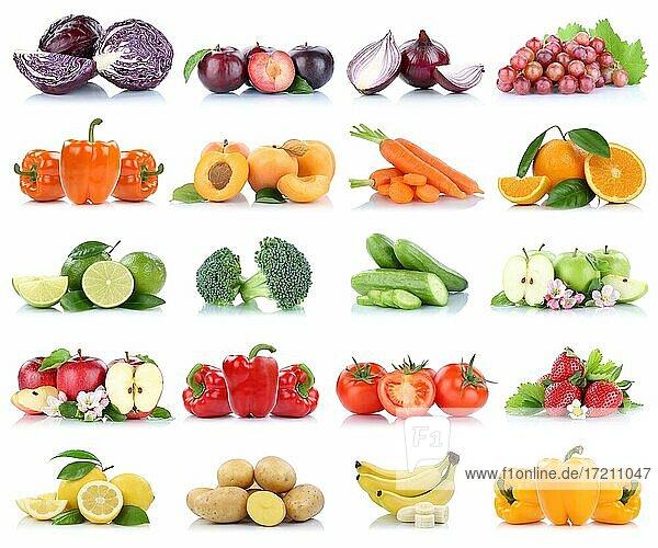 Früchte Obst und Gemüse Sammlung Apfel Tomaten Orange Bananen Weintrauben Farben frische Freisteller freigestellt isoliert vor einem weißen Hintergrund