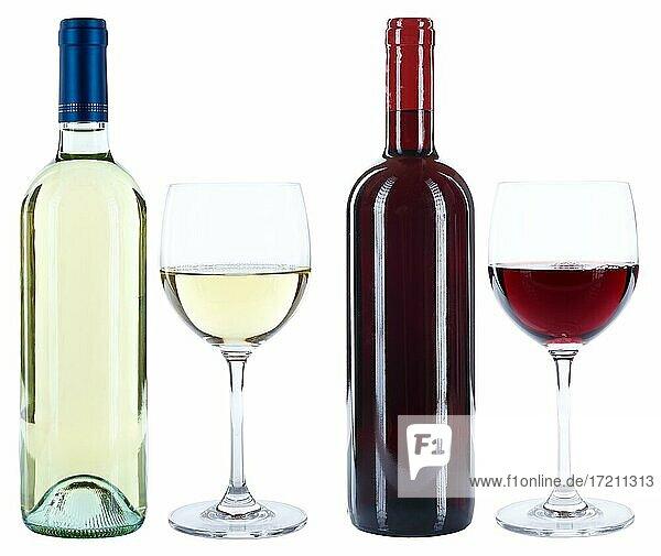 Wein Weinflaschen Weinglas Flaschen Glas Weine Rotwein Weißwein freigestellt Freisteller isoliert