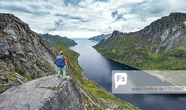 Fjord und Berge  Blick vom Berg Barden  junge Wanderin steht an einer Felsklippe  Senja  Norwegen  Europa