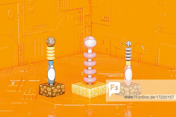 Three dimensional render of abstract board game pieces standing against orange background