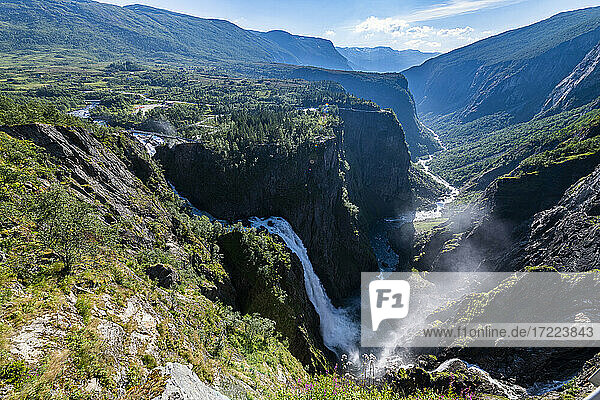 Scenic view of Mabodalen valley and Voringfossen waterfall