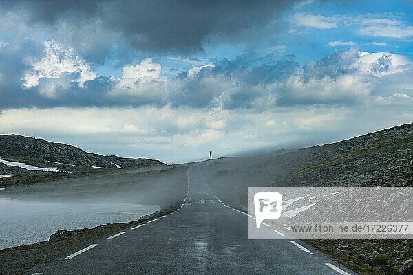 Norway  Aurland  Road in fog on Aurland plateau