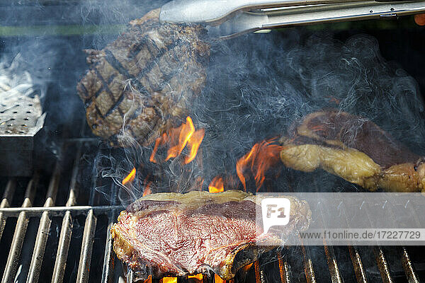 Close up of grilled steaks