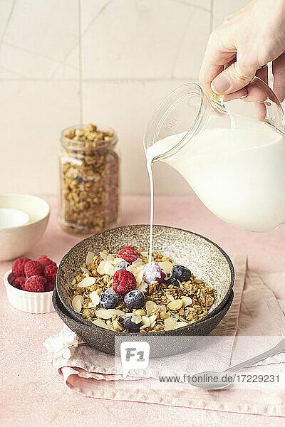 Milch in Knuspermüsli mit Nüssen  Haferflocken und Beeren gießen