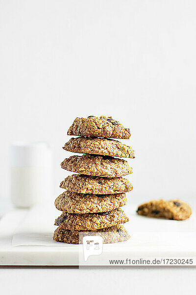Haferflocken-Kekse  gestapelt