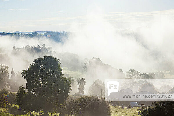 Morning mist above Abergavenny  South Wales