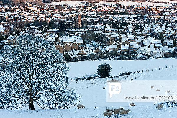 Wotton Under Edge und Schnee  Gloucestershire  Vereinigtes Königreich