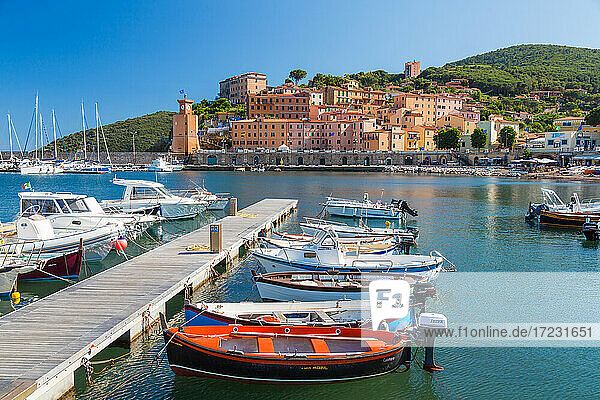 Village of Rio Marina  harbour and moorings on the Island of Elba