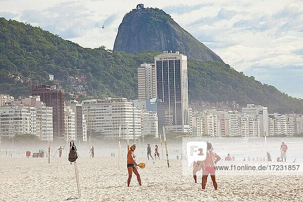Ball game on Copacabana Beach  Copacabana  Rio de Janeiro  Brazil