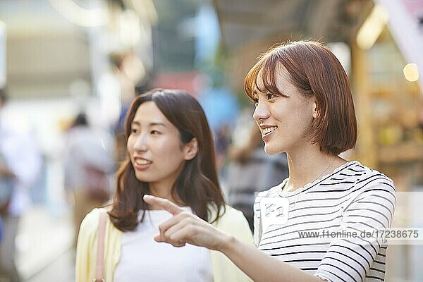 Young Japanese women at a shopping street